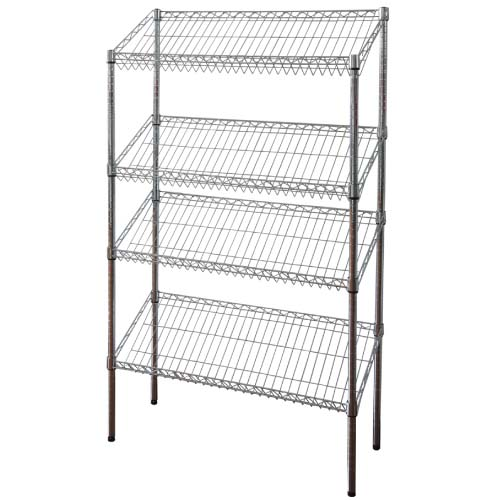 Slanted Wire Shelving | 4 Layers Slant Style Wire Shelving Good Quality Wire Rack Reasonable