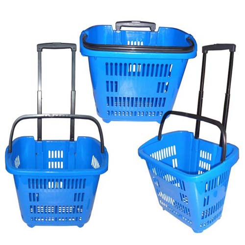Plastic Shopping Basket With 2 Wheels 45L