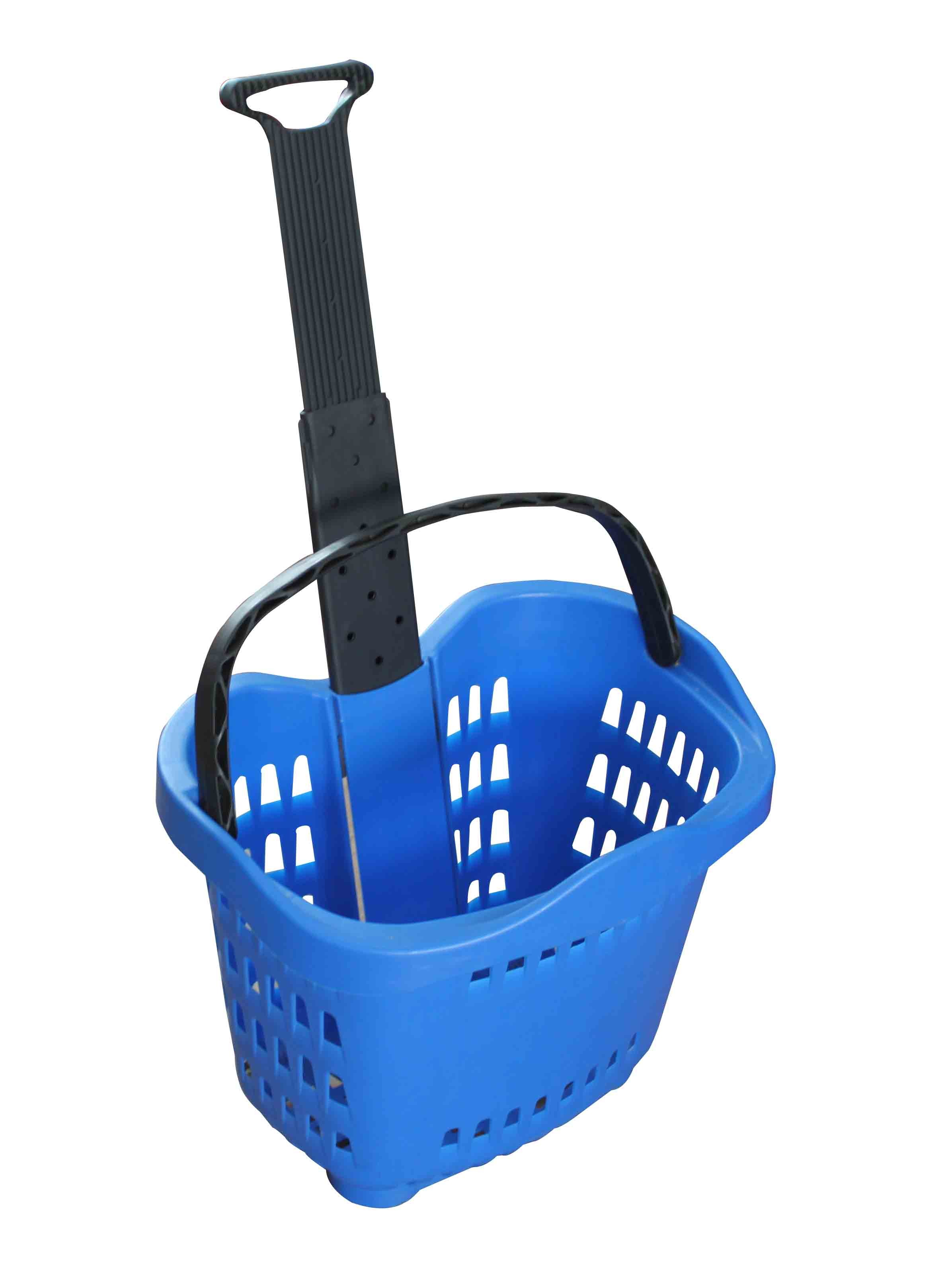 Plastic Rolling Basket With 2 Wheels 55L