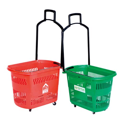 Plastic Shopping Basket With 4 Wheels 48Liters