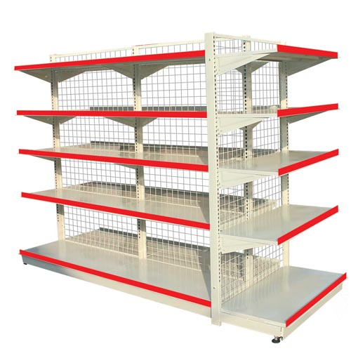Supermarket shelving unit with net back