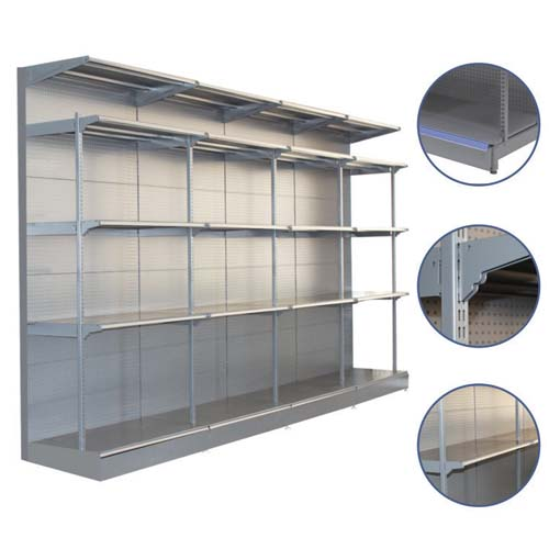 Heavy duty display shelving with hole back panel