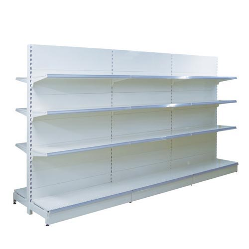 Supermarket shelves with flat back panel